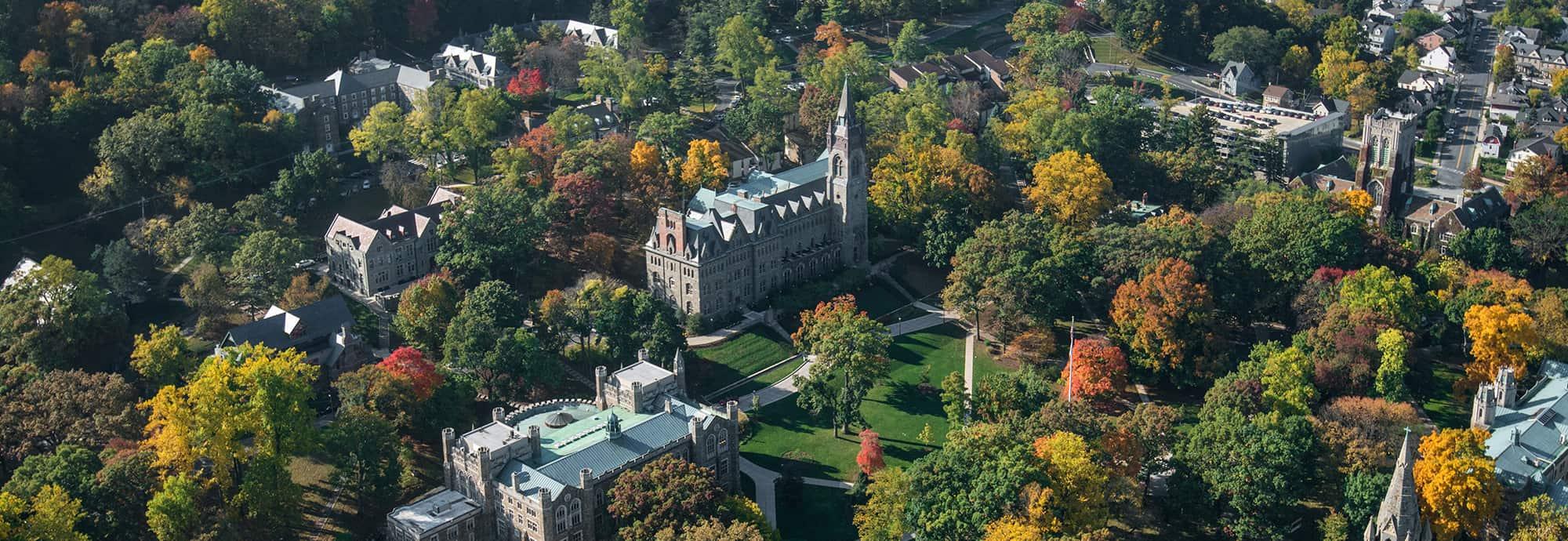 Aerial view of Lehigh University Asa Packer Campus