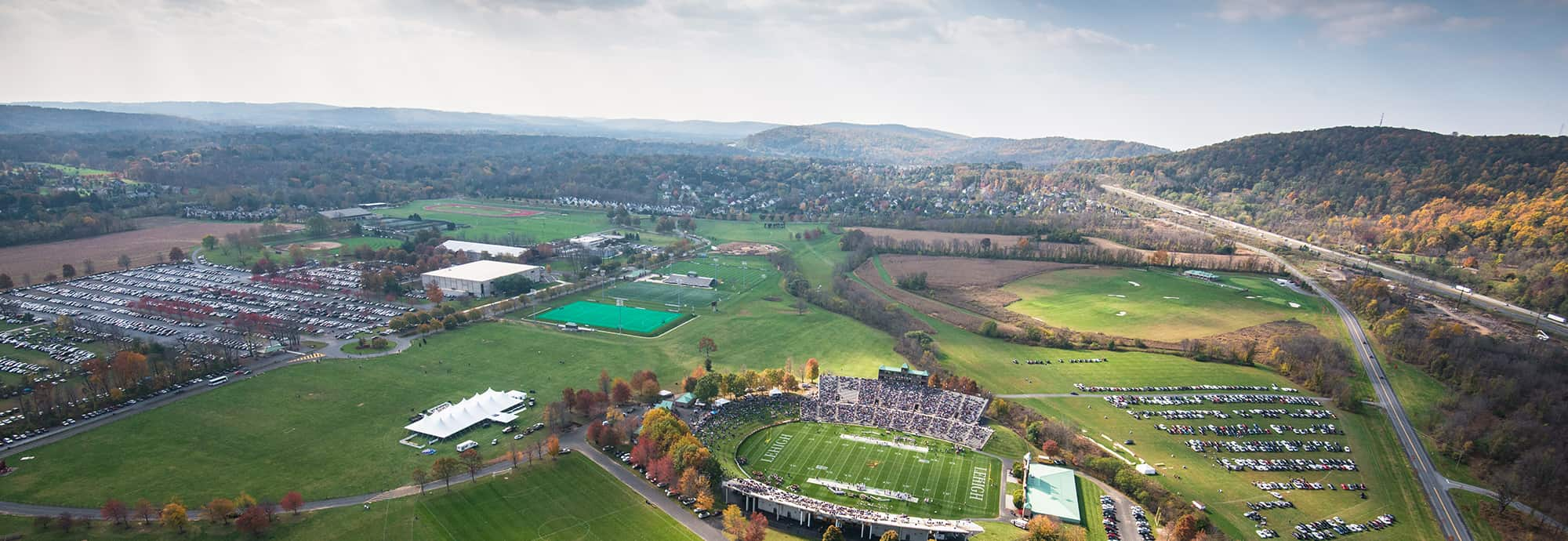 Aerial view of Lehigh University Goodman Campus