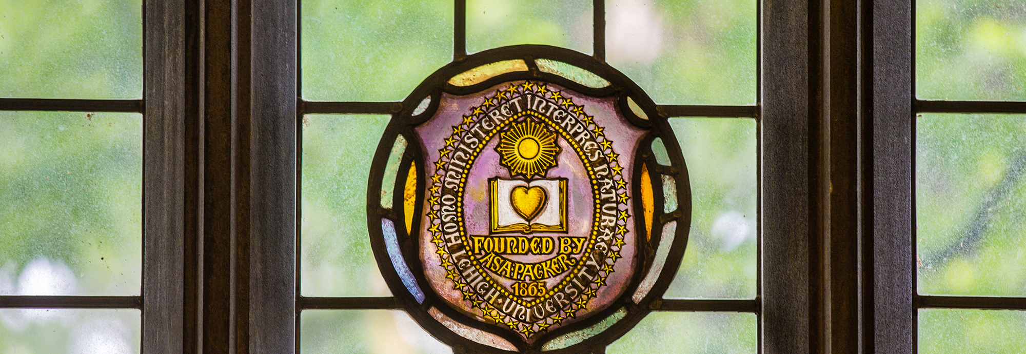 Stained Glass window detail with Lehigh Seal