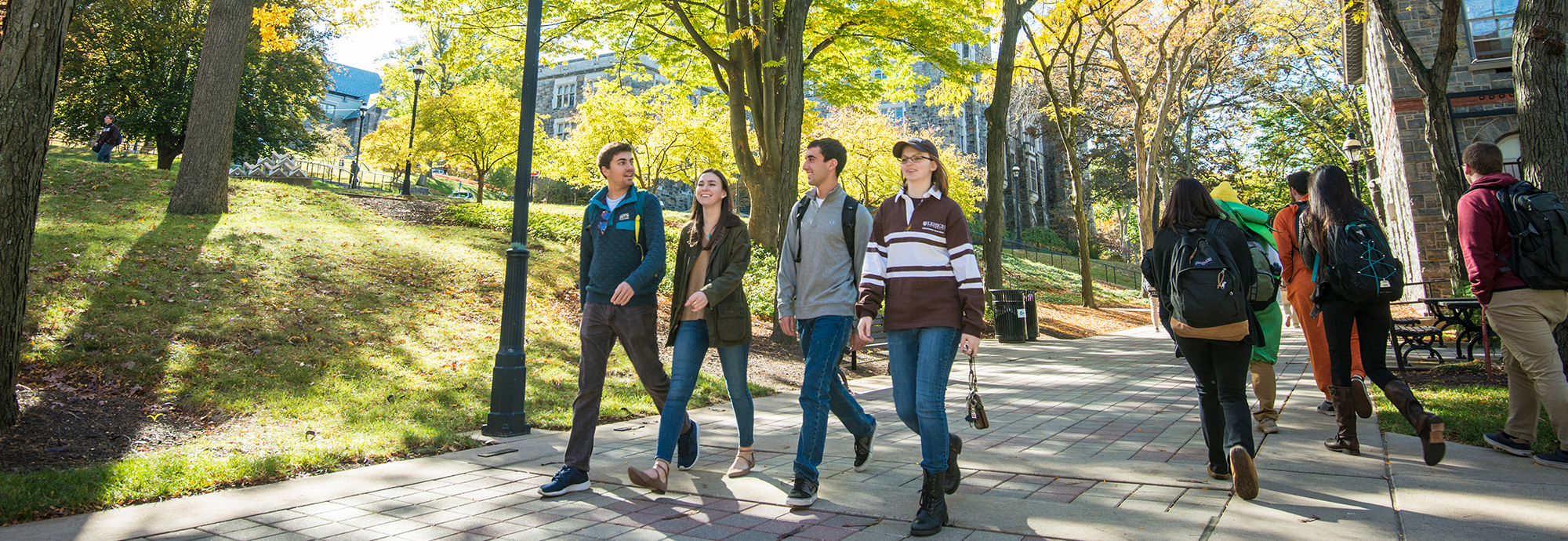 Students walking on Lehigh campus
