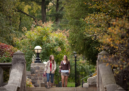 Two Lehigh students walking on campus