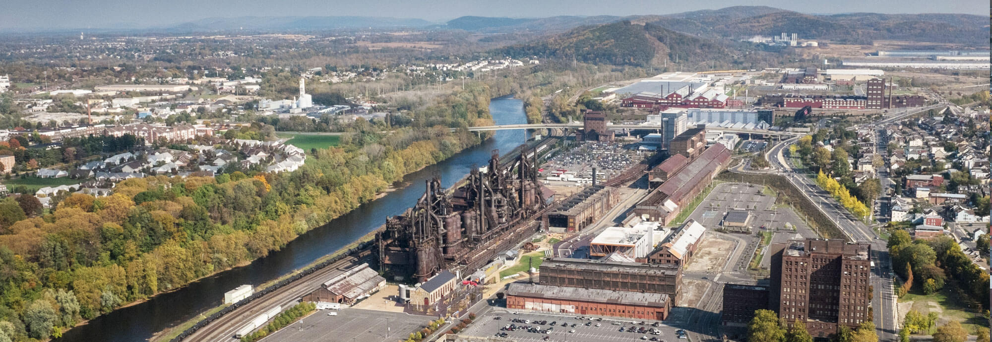 Aerial view of old Bethlehem SteelStacks