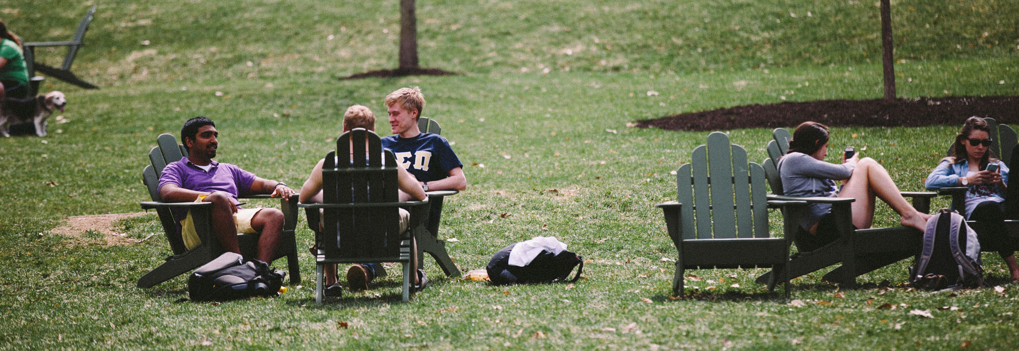 Lehigh students lounging on campus