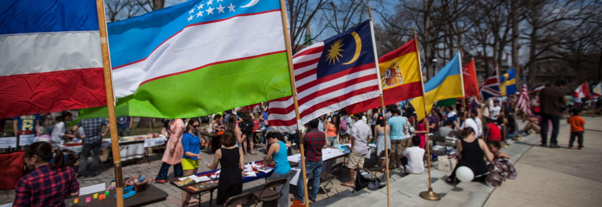 International flags on campus