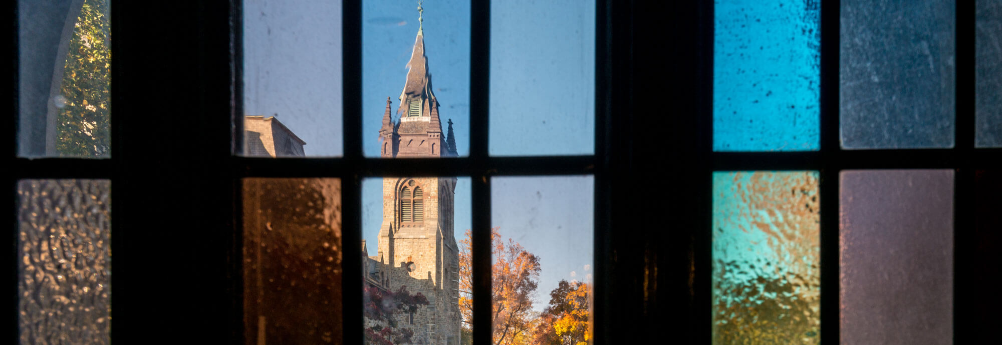 Lehigh campus seen through stained glass