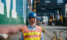 Lehigh student Evan Chansky wears a hard hat and orange vest at internship in Hong Kong.