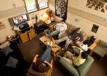 A group of students in a residence hall