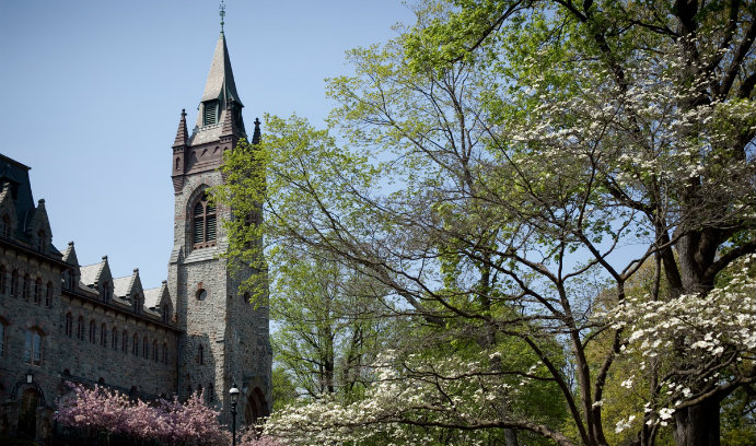 Lehigh University's University Center surrounded by spring foliage.