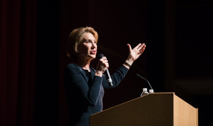 Carly Fiorina delivers ethics lecture