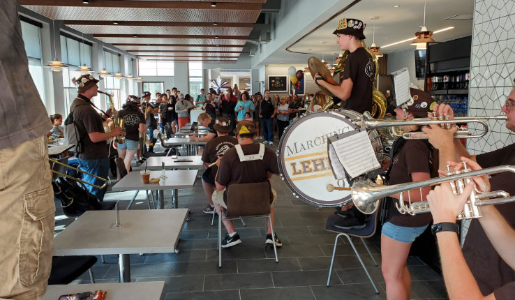 The Marching 97 playing inside The Grind at FML's grand opening
