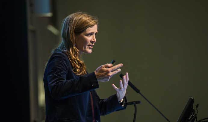 Samantha Power delivers the second Peter S. Hagerman '61 Lecture in Ethics.