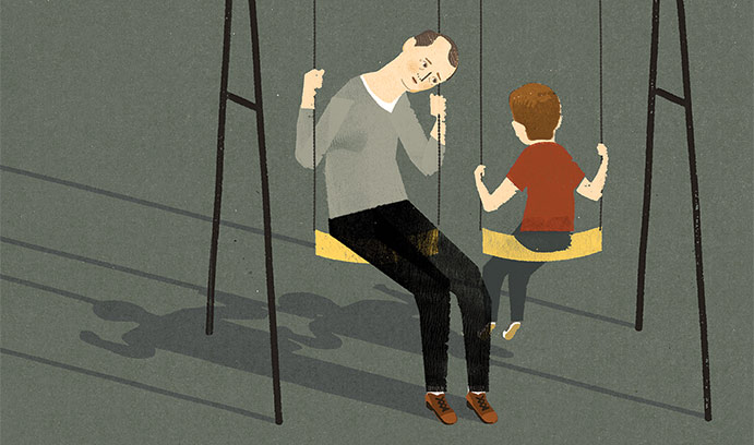 Illustration of adult and child on a swingset