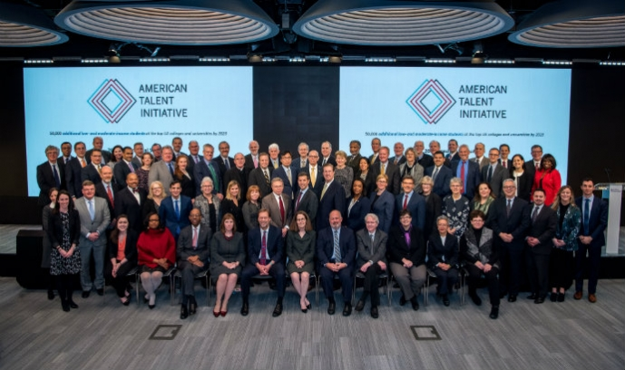 Lehigh President John Simon among other university leaders and Michael Bloomberg at the American Talent Initiative 2018 Presidential Summit.