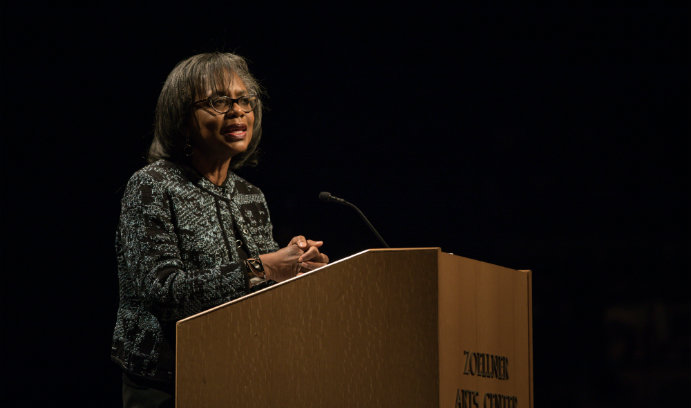 Attorney and advocate Anita Hill speaks at Lehigh University