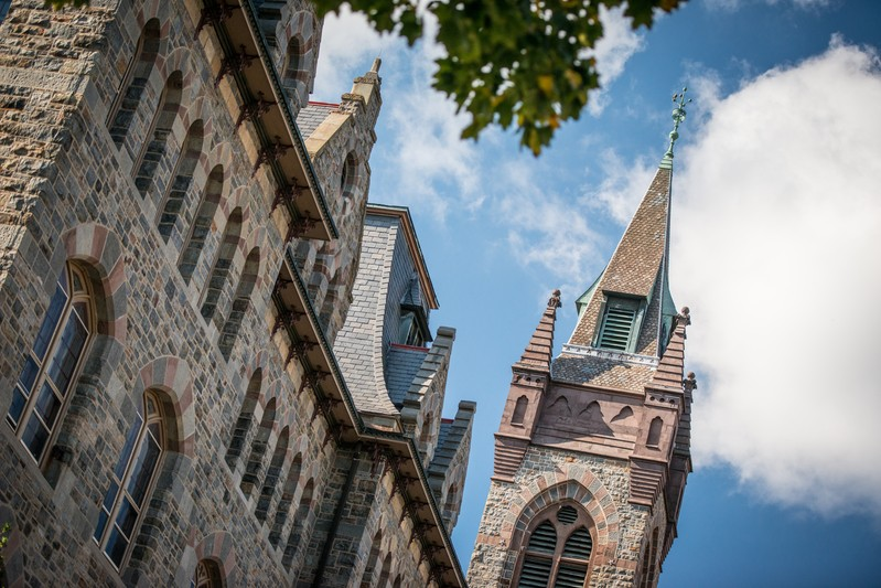 View from below with blue sky in background of Lehigh University's University Center