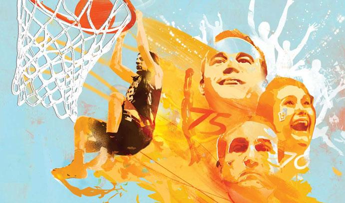 Illustration of Gabe Knutson dunk