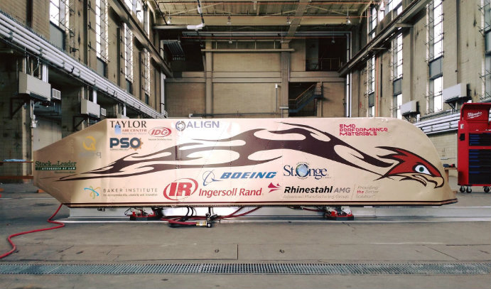 Lehigh Univeristy's student-designed and -built Hyperloop pod for SpaceX competition.