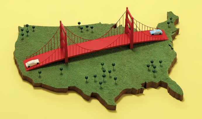 Golden Gate Bridge across the US Graphic