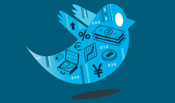 Twitter bird logo with financial symbols on it