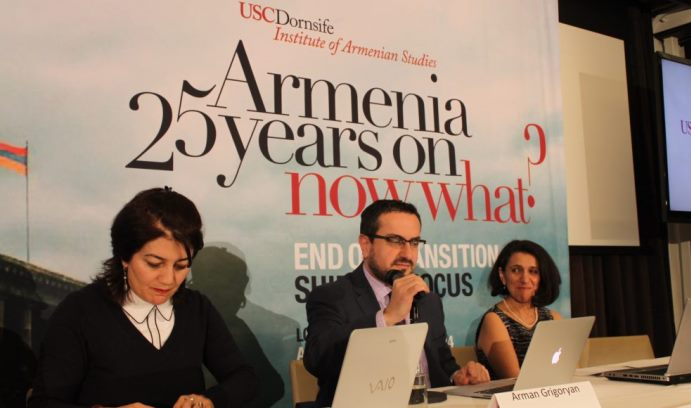 During a recent conference at the University of Southern California, Grigoryan (center) argued that countries that settle their differences find it easier to become, and remain, democratic. (Photo courtesy of The Armenian Weekly)