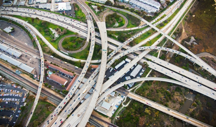 An overview of some of San Diego's freeway overpasses illustrates the challenges of preparing for disaster recovery in a city with 238 highway bridges. (Photo by iStock/Art Wager)