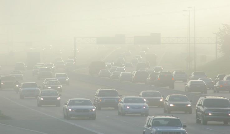 smog over traffic