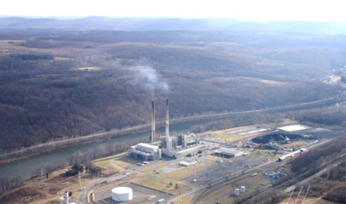 This photo of the PGS coal-fired power plant in Pennsylvania was included with the petition filed by NJDEP with the EPA in 2010. Lehigh economists studied the effects of PGS emissions on birthweights in New Jersey counties.