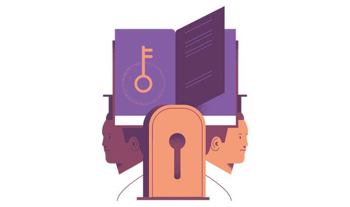 Book with lock illustration