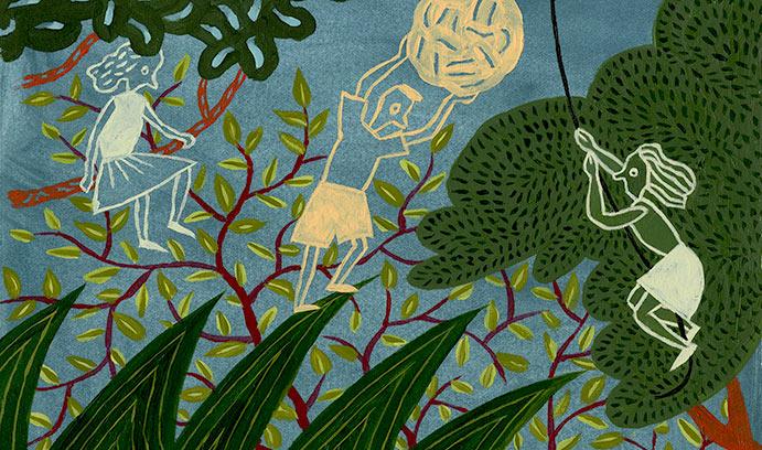 Chalk drawing of jungle scene