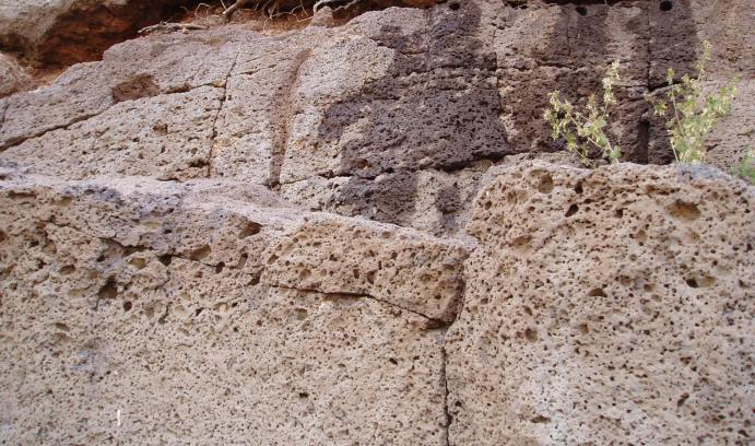 Sahagian's group drilled samples in the Hangay Mountains of Mongolia. The lower portion of this photo shows larger vesicles, or bubbles, that formed as smaller vesicles rose through hardening lava and coalesced. (Photo courtesy of Dork Sahagian)
