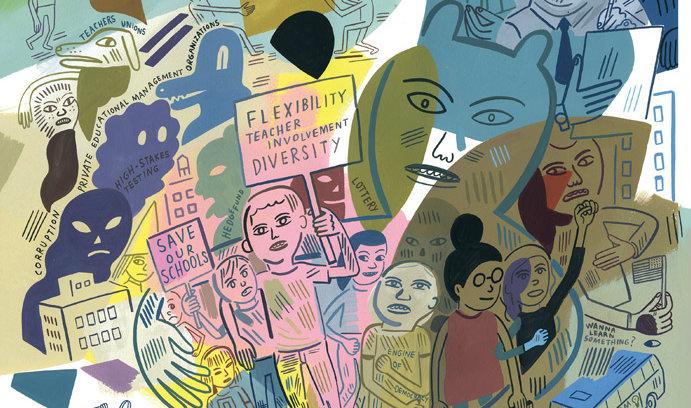 Illustration of debate regarding charter schools