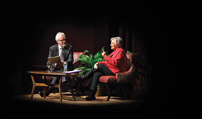 Gary Sasso, dean of the College of Education, talks with education activist Diane Ravitch.