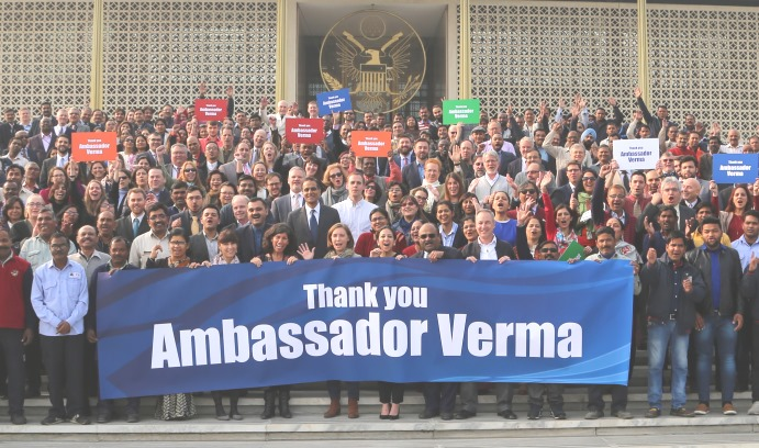 The employees of the American Embassy in New Delhi threw a farewell party for Richard Verma '90 when he stepped down in January after two years as U.S. ambassador to India. (Photo courtesy of U.S. Embassy in New Delhi)